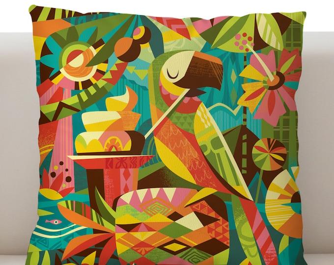 Tiki Parrotdice Pillow Cover