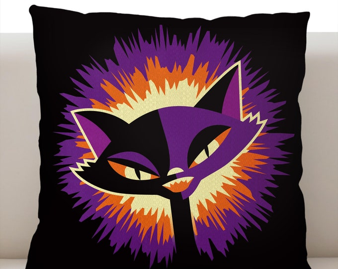 By the Light of the Moon Cat Purple Pillowcase