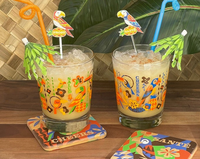 Complete Cocktail Set, Birds Singing Words, Mai Tai Glasses, Swizzles, and Coasters Set