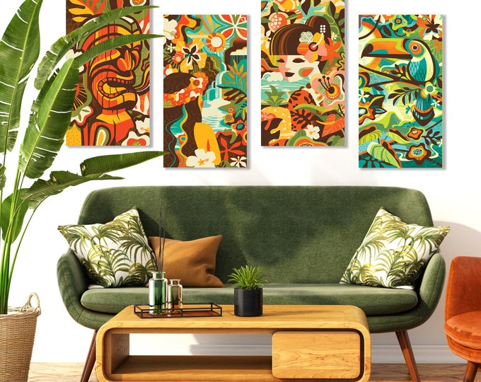 "Autographed Gallery Canvas Giclee Set Of Four, ""Modern Tropics"""