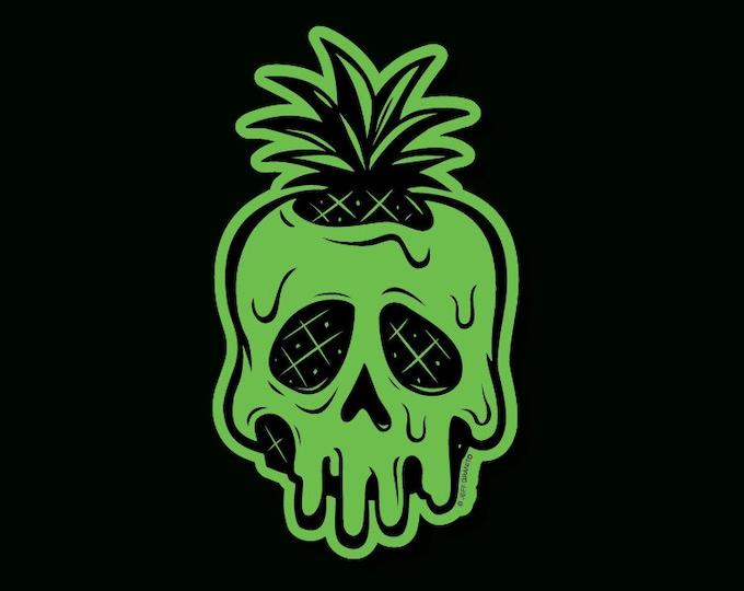 Glow In The Dark Poisoned Pineapple Vinyl Sticker by Jeff Granito, Halloween Sticker, Skull Sticker, Skull Vinyl, Tiki, Tiki Bar, Glow