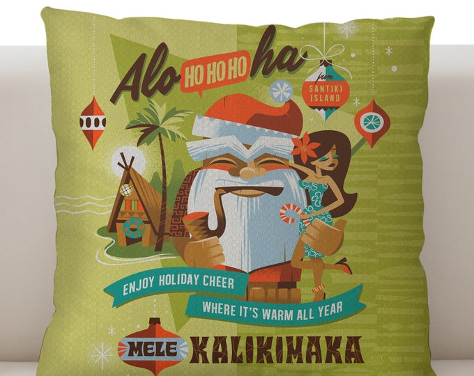 Mele Kalikimaka Pillow, Tiki Bar, Holiday Pillow Santa, Tiki Christmas, Tiki Decor, Jeff Granito, Spireside Candles,Beach Resort Pillow