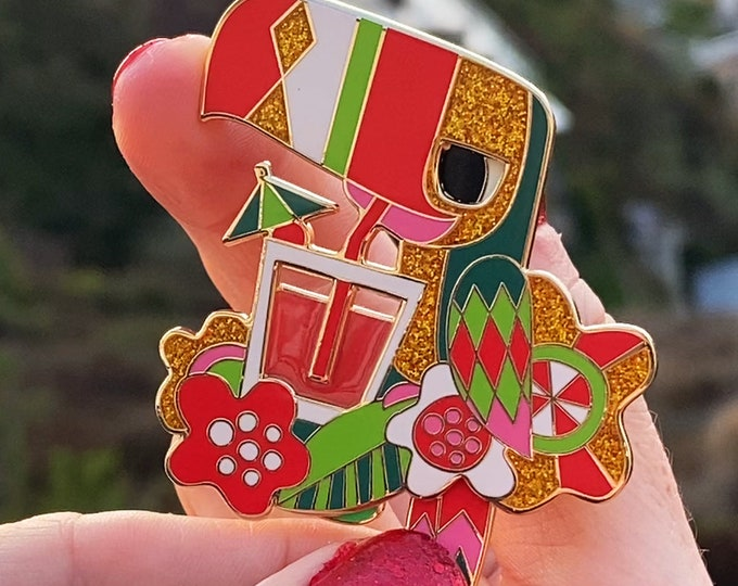 Tipsy Toucan Holiday Glitter Limited Edition Pin