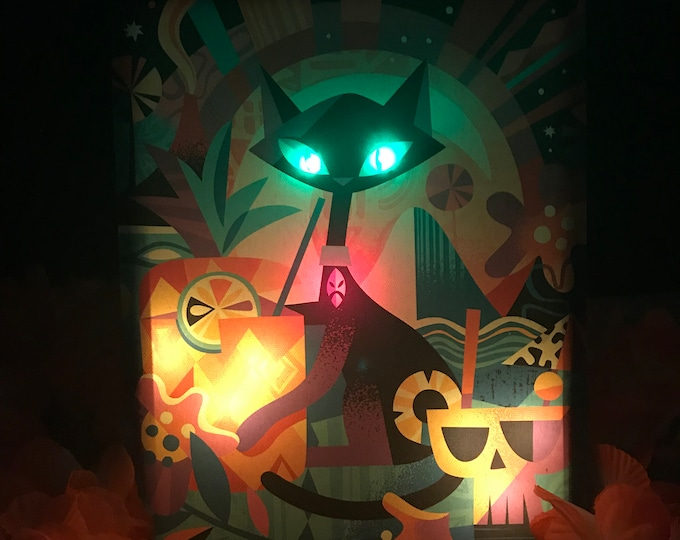 "Glow Giclee ""Tiki Cat"" By Jeff Granito, LED Light up 8 X 10 Canvas,High saturated colors by day,switch to on position for night time Glow"