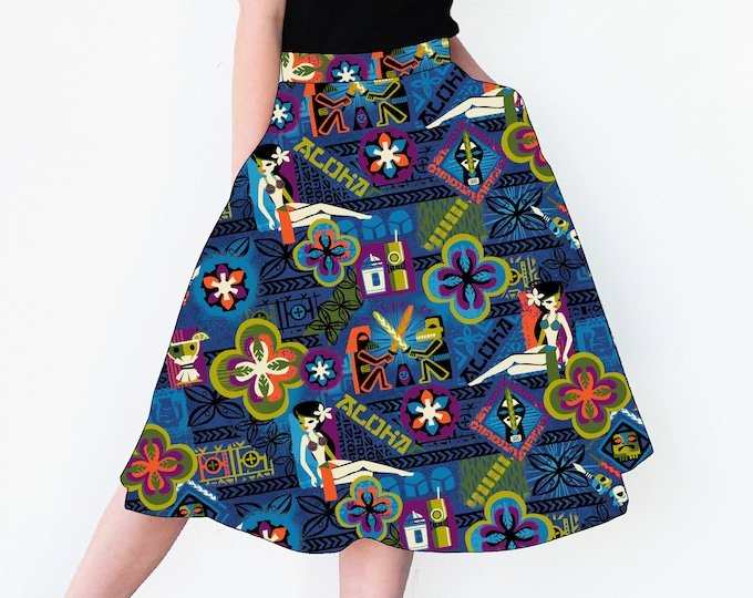 PRE ORDER, Star Bars Aloha Skirt with Pockets, Domestic Shipping Included