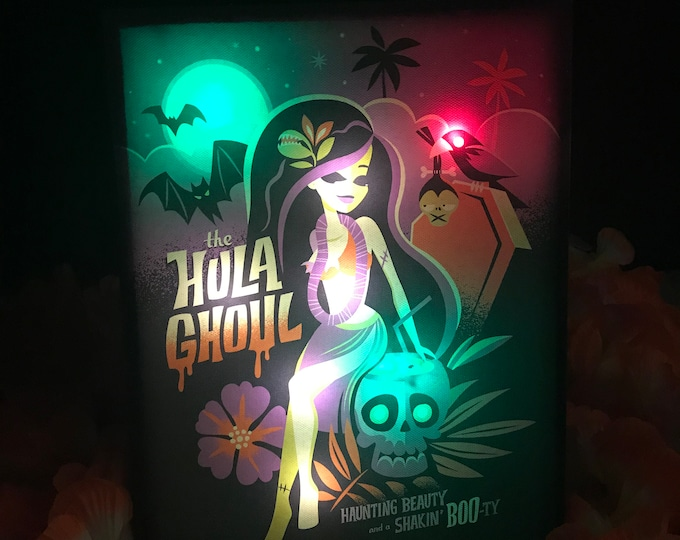 "Glow Giclee ""Hula Ghoul"" By Jeff Granito, LED Light up 8 X 10 Canvas, High saturated colors by day, switch to on position for night time Glow"