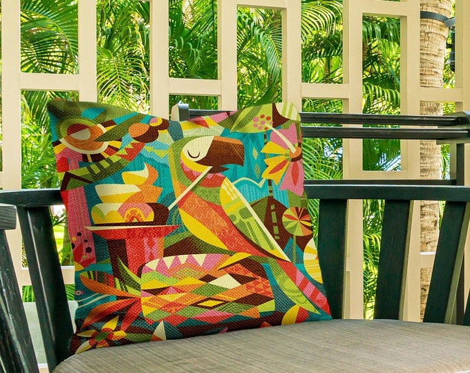 Outdoor Pillow Cover, Parrotdise