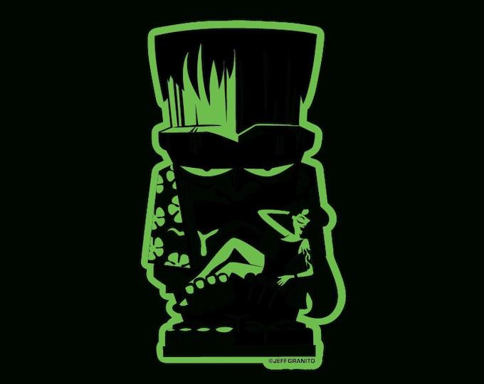 Glow In The Dark Frankentiki Vinyl Sticker