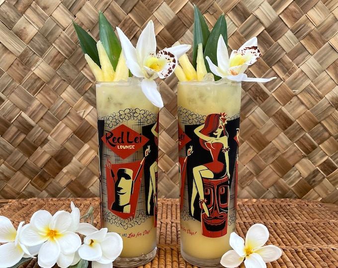 Red Lei Lounge ZOMBIE Cocktail Glass Set of Two