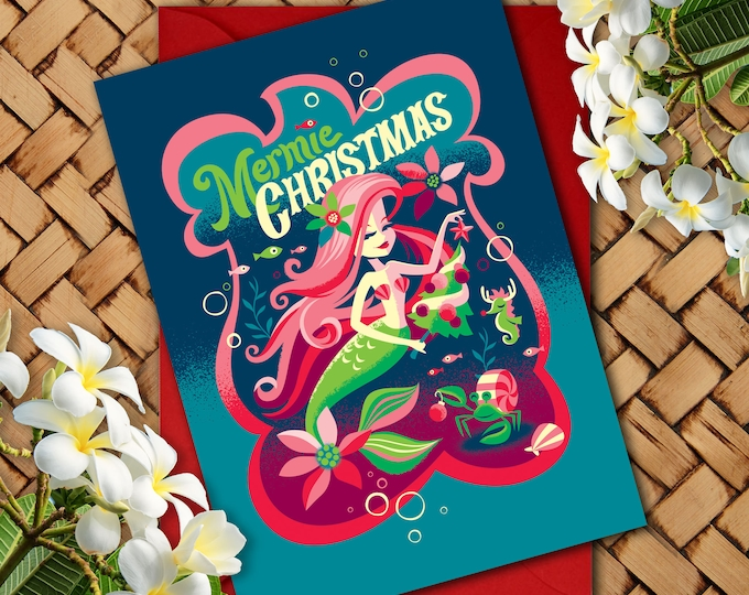 Sapphire Mermie Christmas Greeting Card 5 x 7
