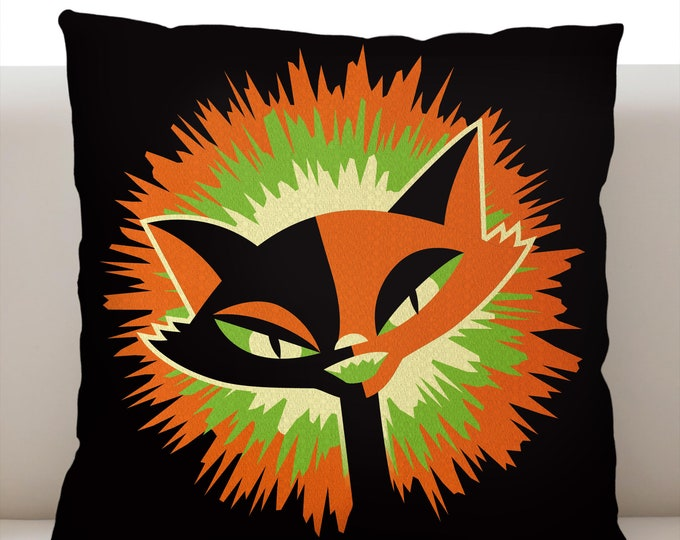 By the Light of the Moon Cat Orange Pillowcase