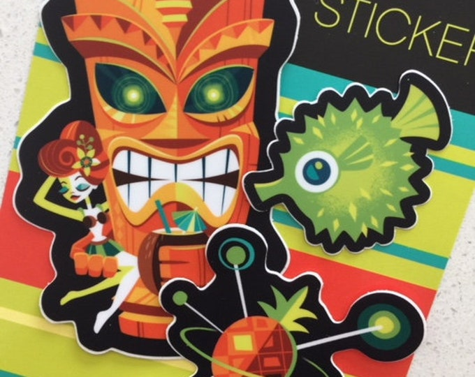 Tiki Planet Vinyl Sticker Set