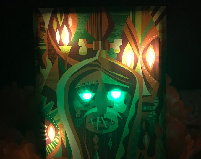 "Glow Giclee""Shrunken Head"" By Jeff Granito,LED Light up 8 X 10 Giclee,High saturated colors by day,switch to on position for night time Glow"