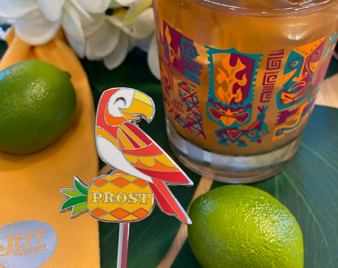 Salud and Prost Tiki Bird Swizzle Stick