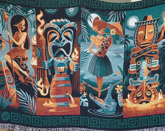 Pre-Order and In Stock Tiki Portraits Cotton Blanket