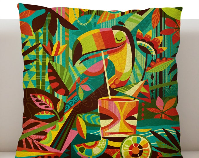 Tiki Toucan Pillow Cover
