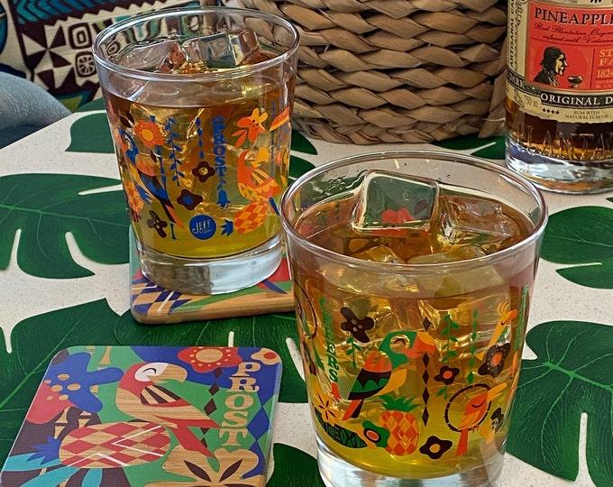 Birds Singing Words Mai Tai Cocktail Glass Set