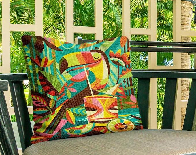 Outdoor Pillow Cover, Tiki Toucan