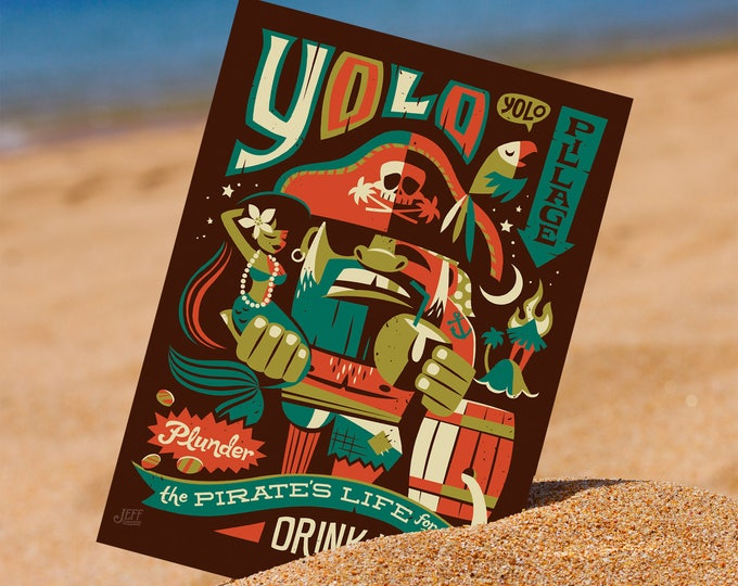 YOLO Postcard, Island Print, Tiki Decor, Pirate Decor, Beach Decor, Polysesian Print, Small Print, Aloha Decor, Hawaiian Decor, Jeff Granito