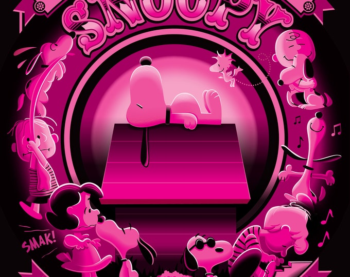 Happiness Is Snoopy JOE COOL PINK Giclee printed on archival paper