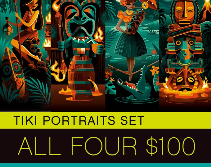 Tiki Portraits Print Set, All Four Deluxe Matted Prints