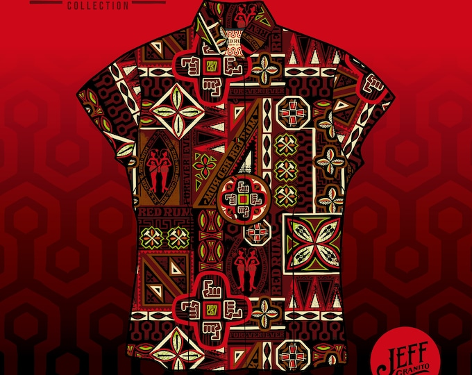 FINAL SALE Come Tiki With Us RedRum Aloha Women's Shirt and Mask, No Exchanges, No Returns