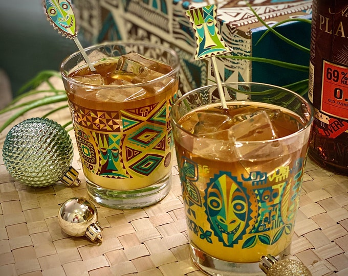 BLACK FRIDAY Special, Jungle JuJu Mai Tai Glass Set Including Jungle JuJu Greeting and Jungle JuJu Warning Swizzles