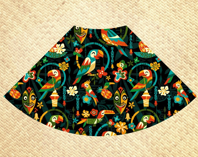PRE ORDER, Birds Singing Words Aloha Skirt with Pockets, Domestic Shipping Included