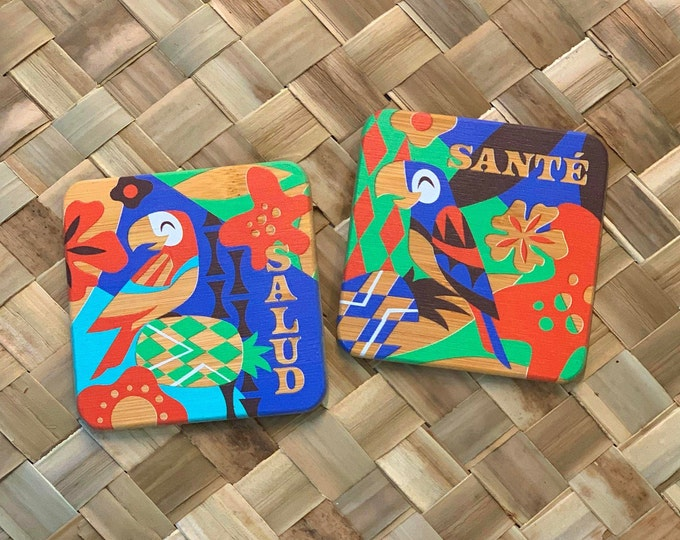 One Salud and One Sante Bamboo Coaster