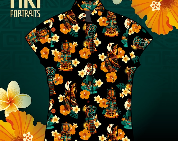 Pre-Sale Only, Rayon Tiki Portraits's Aloha Ladies Shirt, Sale Ends Oct 2, Holiday Gift, Delivery end of November/Early December