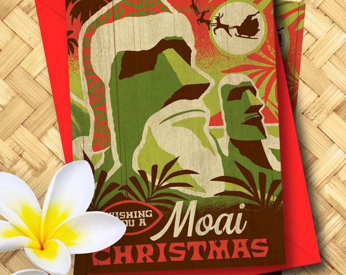 Moai Christmas Greeting Card Set
