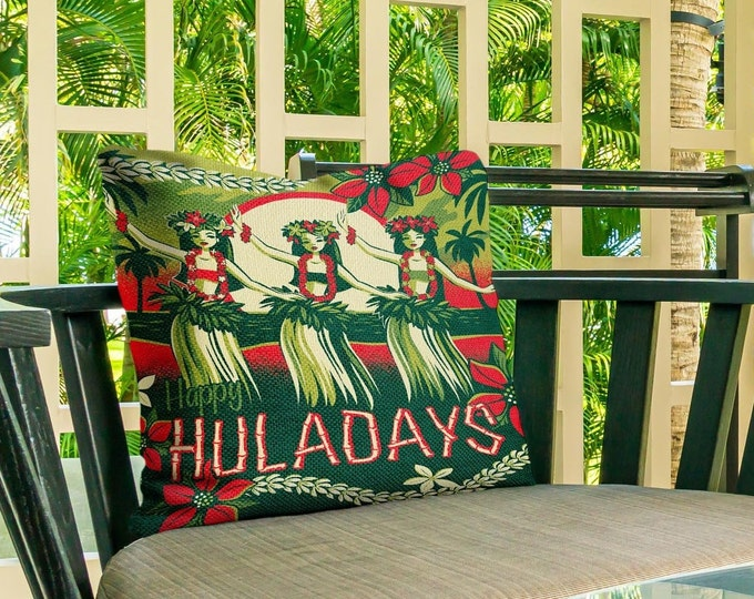 Outdoor Pillow, Happy Huladays