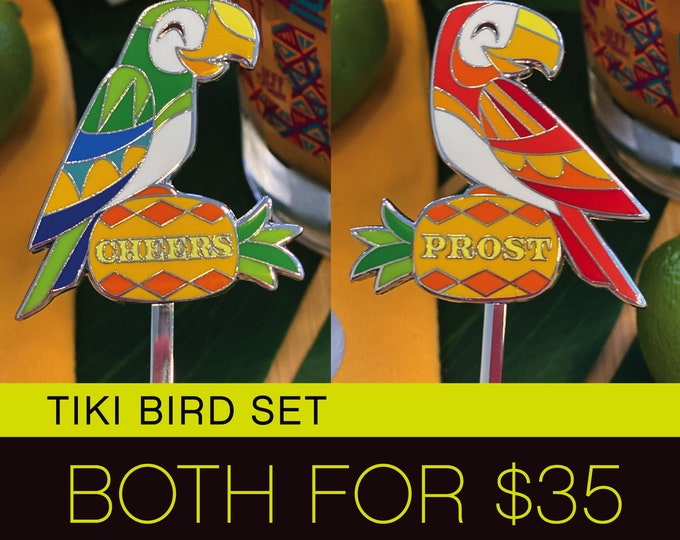 Pre-Order Tiki Bird Set, Swizzle Sticks, Delivery Early September, Make a Drink AND a Splash~ Cheers!