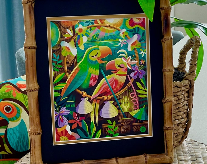 Birds of a Feather Print and 11X14 Bamboo Frame Set