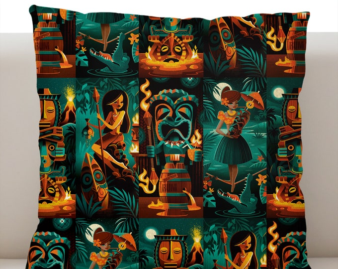 Tiki Portraits Pillow Cover