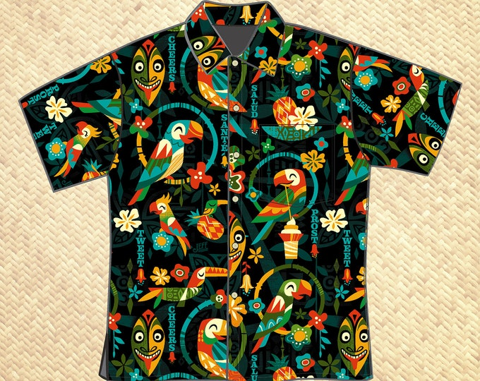 PRE ORDER, Birds Singing Words Unisex Aloha Shirt, Domestic Shipping Included