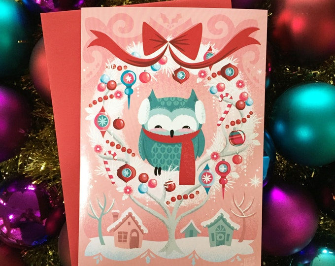 Owl Be Home Greeting Card by Jeff Granito, Owl, Christmas Card, Winter Animals, Animal Cards, Forest Animals, Xmas Card, Holiday Card, Cards