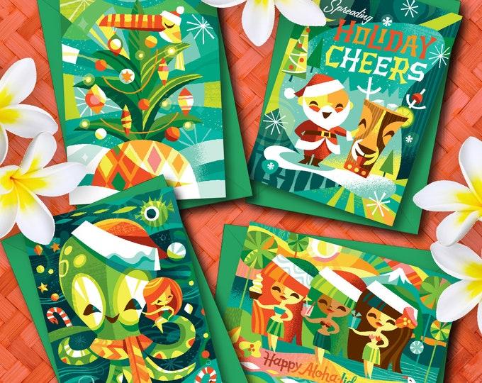 Aloha-lidays Mixed Christmas Greeting Card Set