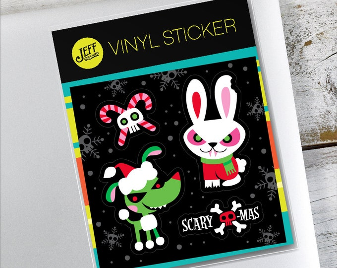 Scary Xmas Bunny Vinyl Stickers