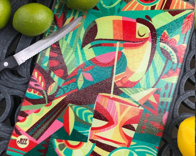 Tiki Toucan Glass Cutting Board