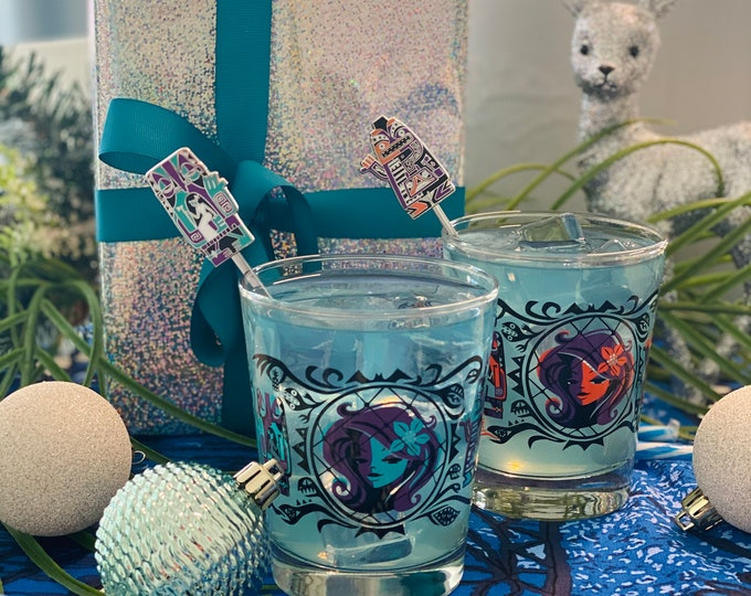BLACK FRIDAY SPECIAL, Follow Yule Home Mai Tai Glass Set Including Lost Tiki Trio Ghost Swizzles