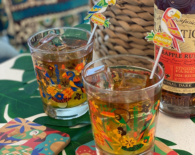 Birds Singing Words Mai Tai Cocktail Glass Set, Two Glasses, Two Coasters, Two swizzles