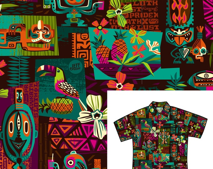 FINAL SALE, No RETURNS or Exchanges, Limited Edition Sin-Tiki Aloha Unisex Shirt, With Matching Face Mask