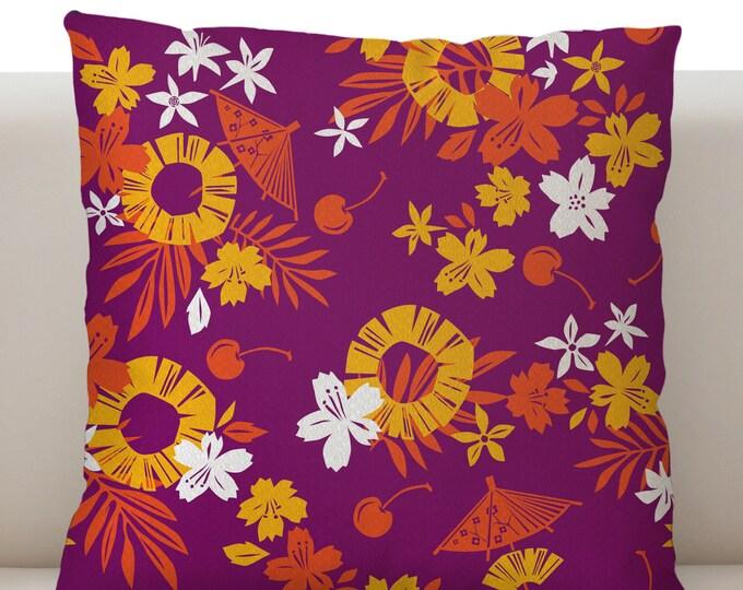 Paper Umbrella Purple Pillow Cover