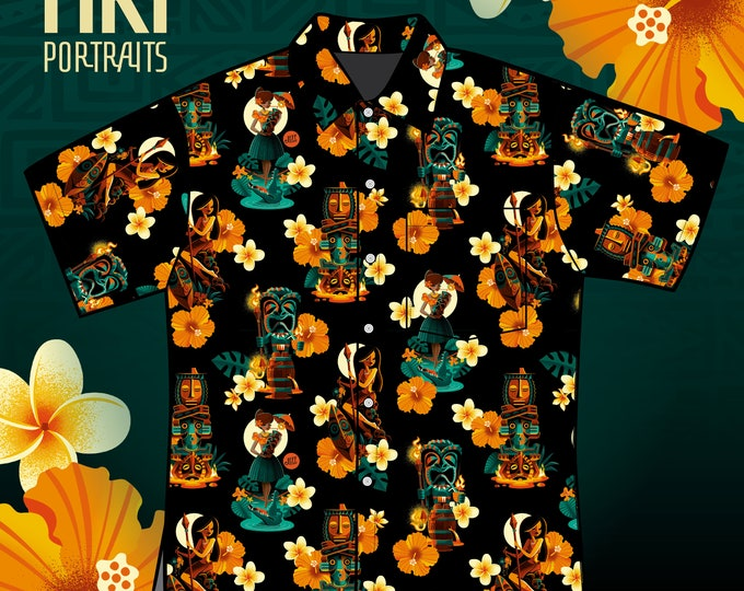 Final Sale No Returns Rayon Tiki Portraits's Aloha Unisex Shirt