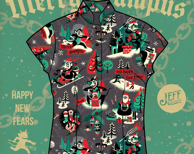 In Stock, Final Sale, Merry Krampus Aloha Women's Shirt and matching face mask, Free Domestic Shipping