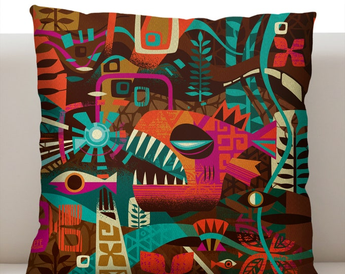 Deep See Tiki Pillowcase