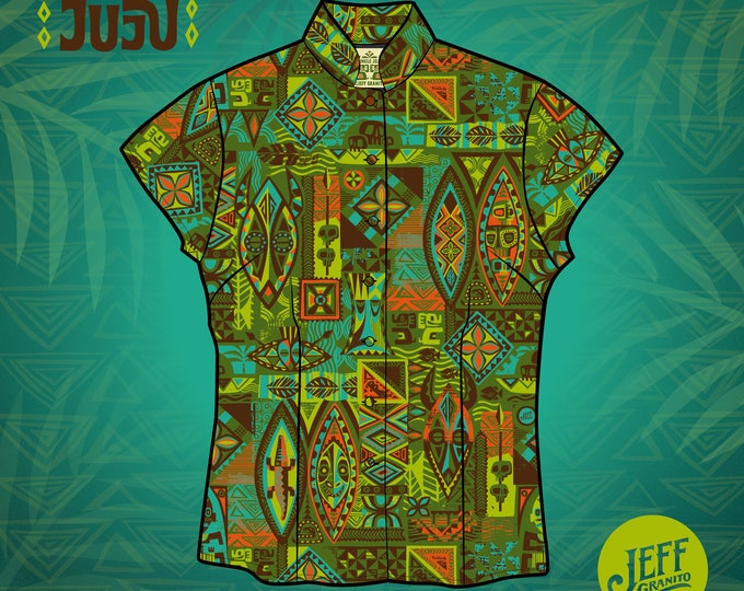 Final Sale No returns Jungle JuJu Aloha Women's Shirt, Limited Edition-Free Matching Face Mask, Free Shipping