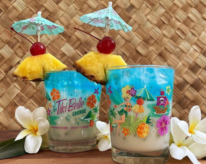 Two Cocktail Glasses, Tiki Belle, In Stock