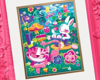 A Walk Through Wonderland, Candles, Alice in Wonderland, Cheshire Cat, White Rabbit, Children's Prints, Storybook, Spireside, Jeff Granito
